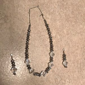 Silver costume necklace and magnetic earring set